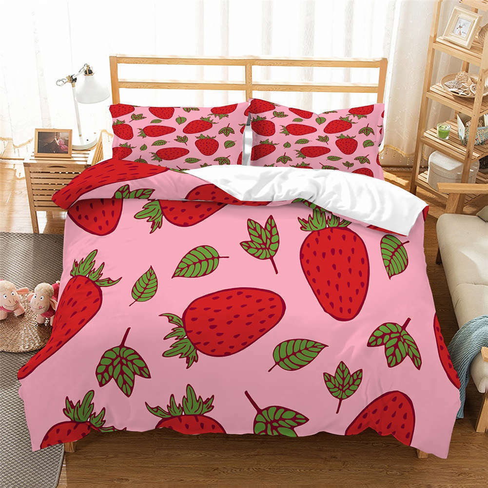 Thorn Strawberry 3D Quilt Duvet Doona Cover Set Single Double Queen King Print