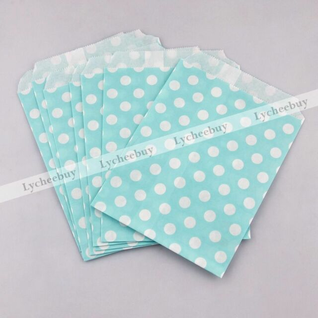 25X Polka Dot Cake Biscuit Snack Party Lolly Paper Bag Cookie Pack Light Blue