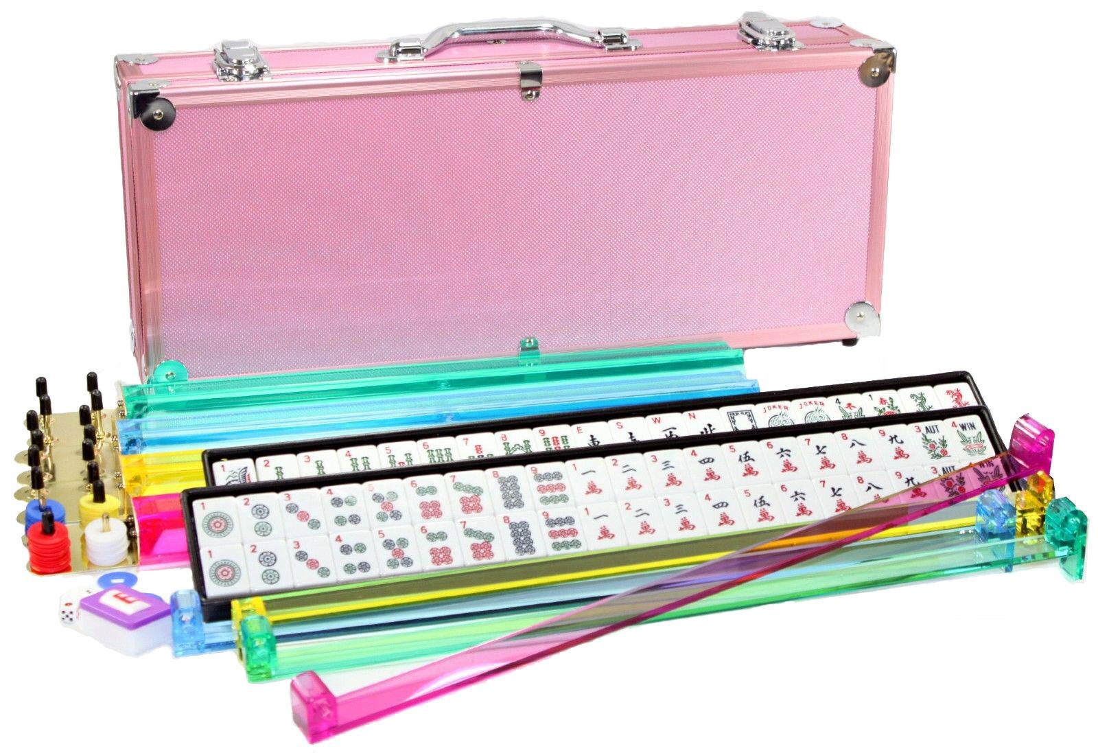 4 poussoirs + Brand New American Mahjong Western Mahjongg Set Rose Case 166 tuiles