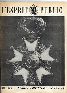 """Sportif Revue """"l'esprit Public"""" - N°41 - Juin 1963 - Légion D'honneur Lustre Brillant"""