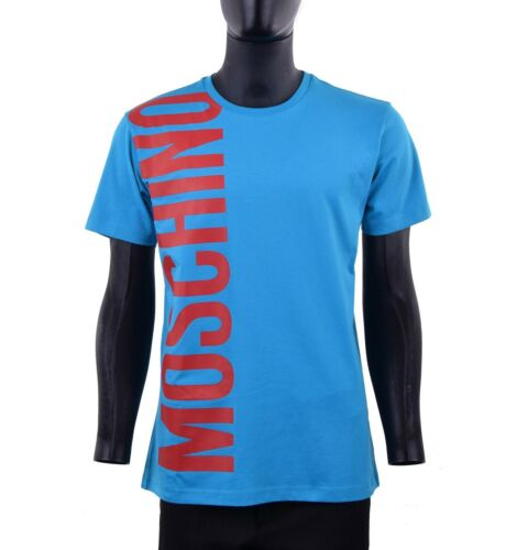 MOSCHINO COUTURE Printed Slim Fit Logo TShirt Cotton Blue Red 05434