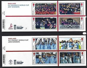 GREAT-BRITAIN-2019-MEN-AND-WOMEN-039-S-CRICKET-WORLD-CUP-WINNERS-2-SHEETS-UM-MNH