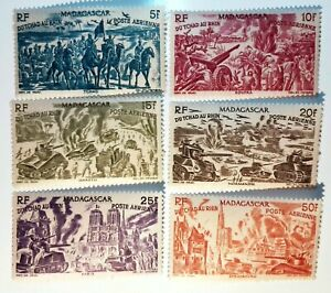 FRANCE-6-STAMP-MADAGASCAR-Yvert-Pa-66-71-NEUF-MNH-TCHAD-AU-RHIN
