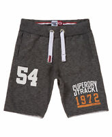 New Mens Superdry Factory Second Trackster Sweat Shorts Low Light Black Jaspe