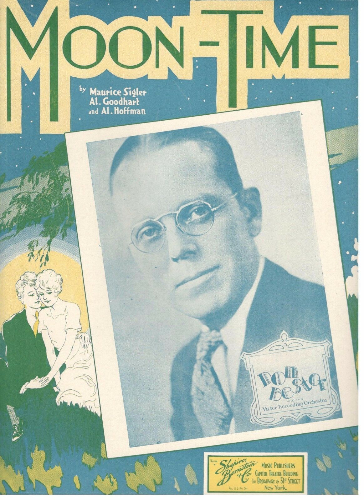 DON BESTER  MOON-TIME  PIANO VOCAL CHORDS SHEET MUSIC-1934-VERY RARE-NEW-MINT