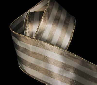 "10 Yards Sophisticated Ivory Gold Stripe Wired Ribbon 3""W (RT $22.50)"