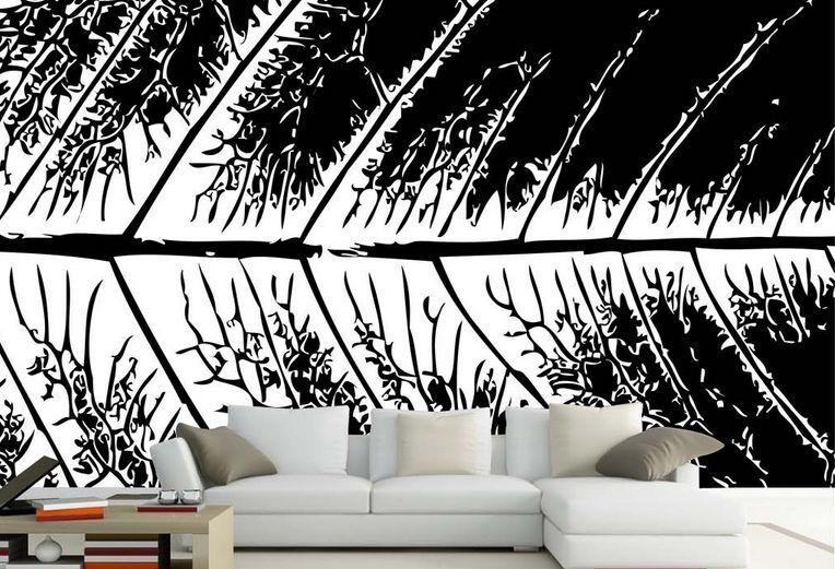 3D Foglie nere 36 Parete Murale Carta da parati immagine sfondo muro stampa