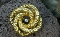 Antique 14K Gold Victorian Diamond Love Knot Brooch Pin Estate Jewelry 3.7 g
