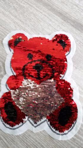 XL-Patch oso con corazón plata rojo Patch con inflexión lentejuelas amor día de San Valentín