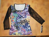 Body Wrappers 3/4 Black Mesh Sleeve Graffiti Dance Top Ladies Sizes 6805