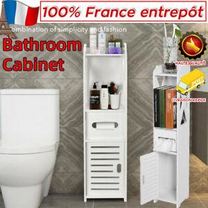 Meuble WC Colonne Salle de Bain 28x25x89cm Armoire Porte de Rangement Toilette X