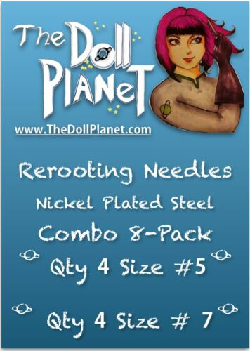 Combo 8-Pack #5 and #7 Steel Cut Needles for Rooting Doll /& Pony Barbie MH EAH