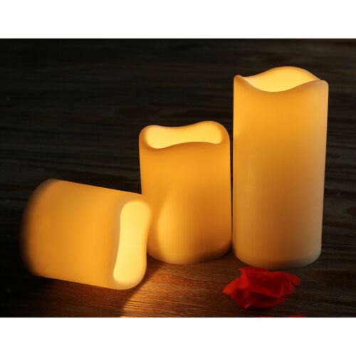 Set 3pcs LED Candle Flickering Flameless Battery Candles for Dinner Decor