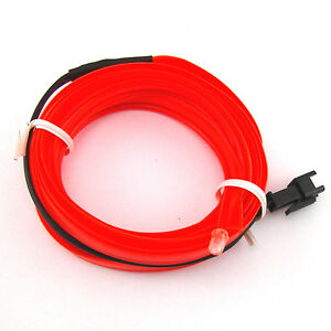 12v 2m el wire car interior decor fluorescent neon strip cold light tape red ebay. Black Bedroom Furniture Sets. Home Design Ideas