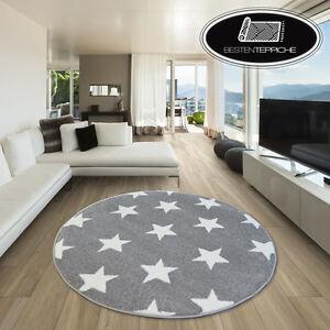 Modernen-Weich-Teppich-SKETCH-STERN-FA68-Kreis-grau-weiss-angenehm-modisch