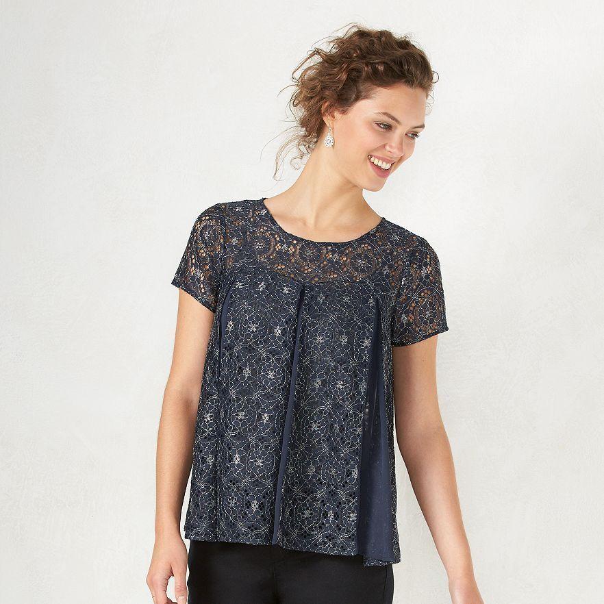 Lauren Conrad Navy bluee Metallic Sheer Lace Short Sleeve Boxy Top Blouse XS,S,L