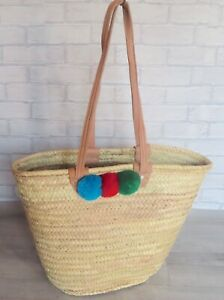 Moroccan Handmade Straw Tote Basket