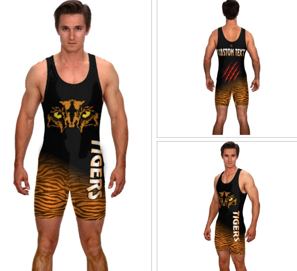 Tiger mascot wrestling singlet, includes sublimated custom text
