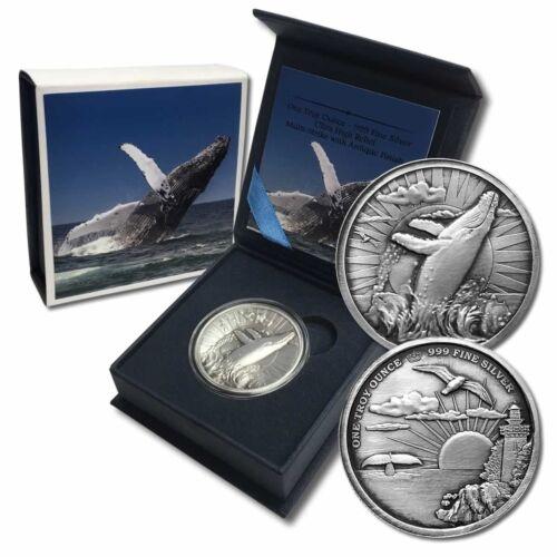 Humpback Whale Ultra High Relief 1 oz Silver Antiqued Capsuled Round W/BOX & COA