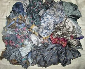LOT-PURE-SILK-Antique-Vintage-Sari-REMNANT-Fabrics-100-GRAMS-CRAFT-DOLL-QUILT-12