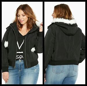 027f0c46bc8 NWT Torrid Plus Size 0 0X Nylon Bomber Jacket With Faux Fur Hood and ...