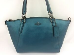 Image is loading New-Coach-F23538-Metallic-Leather-Small-Kelsey-Satchel- ff1ae9ce27648