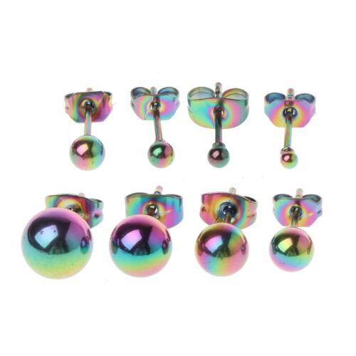 8PCS TINY 2-8MM STAINLESS STEEL ROUND BALL BEAD ELEGANT CHARM STUD EARRINGS SET