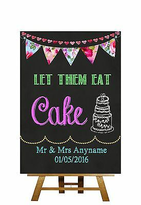 Bright Chalkboard Style Let Them Eat Cake Personalised Wedding Sign