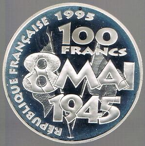 FRANCE-BELLE-EPREUVE-ARGENT-100-FRANCS-8-MAI-1945-1995-sur-MODULE-DE-10Frs