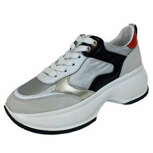 Details about C04 sneakers donna HOGAN MAXI I ACTIVE silver multicolor shoes women