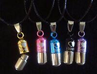Cremation Urn Metal Keepsake Ash Holder Pills Pendant Necklace Jewelry Silver