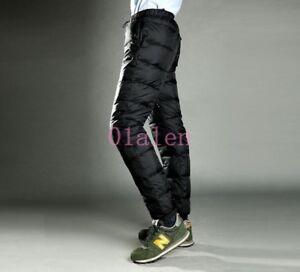 Mens-Ultralight-Puffer-90-Down-High-Waist-Thicken-Pants-Down-Trousers-Outdoor