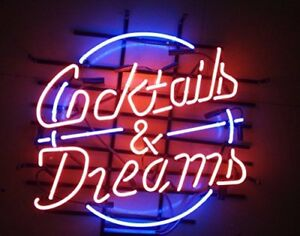 """New Cocktails And Dreams Neon Light Sign 20/""""x16/"""" Beer Cave Gift Bar Real Glass"""