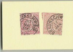 Zwei-Briefmarken-Norddeutscher-Postbezirk-1-Groschen-u-1-2-Groschen-1870-gest