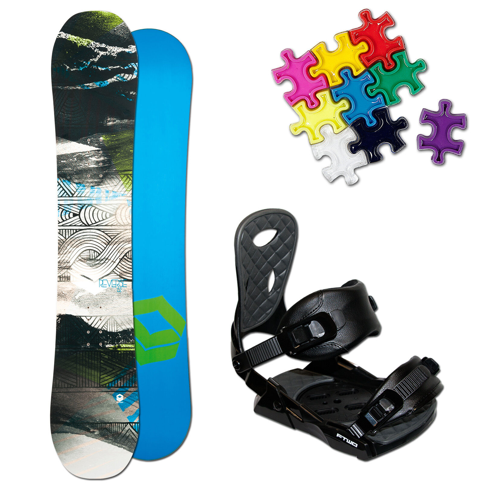 Ftwo Reverse Hombres Snowboard Set  147cm + Team Fijación M + Pad