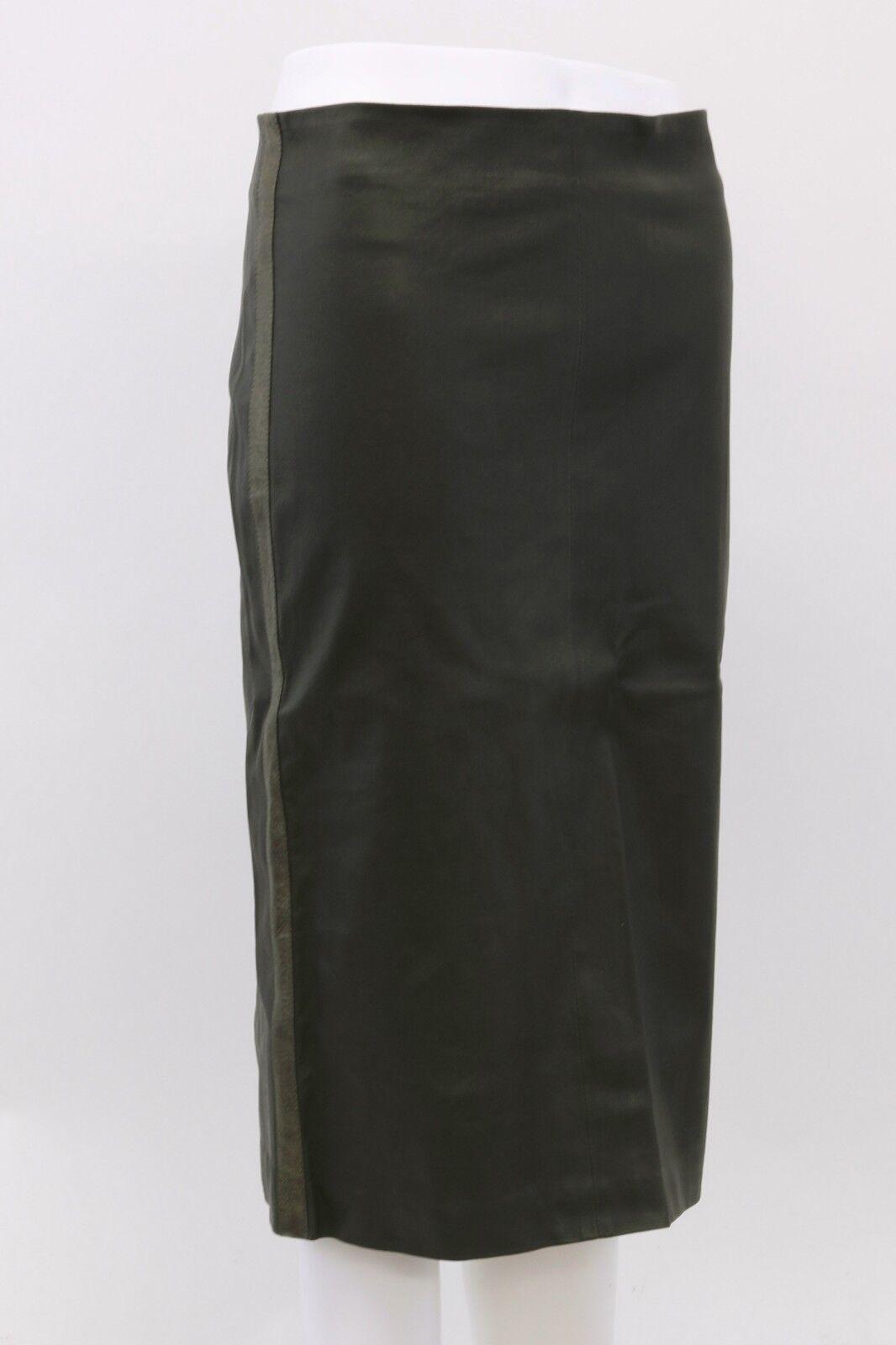 NWT  2795 Bspringaaello Cucinelli 100% läder Metallic Side Stripped kjol 42  6US A181
