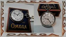 VINTAGE OMEGA MENS POCKET WATCH SWISS MADE OPEN FACE BOX CHAIN