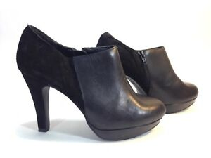 17d808cb48419 Details about NEW LOOK black leather & suede platform bootie side zip shoes  8.5 wide 39