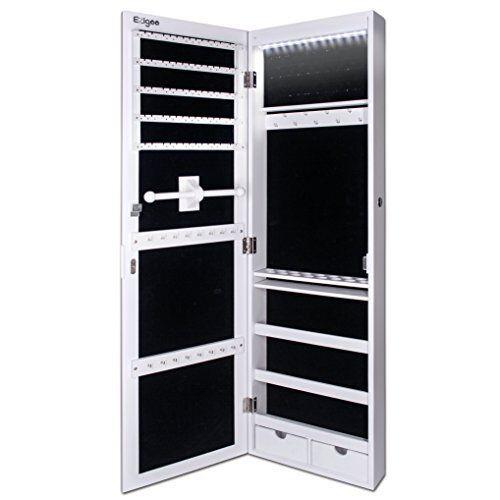Songmics Led espejo joyero armario colgante con cerradura montado en ...