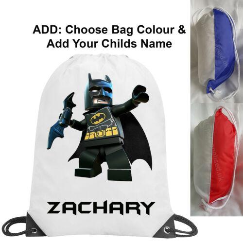 BOY LEGO BATMAN personalizzata Gym Sack Borsa Nuoto Scuola di Danza PE NOME REGALO 1