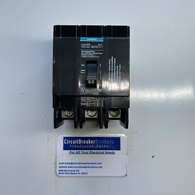 Siemens ITE BQD BQD360 3 Pole 60 Amp Bolt On Molded Case Circuit Breaker Used