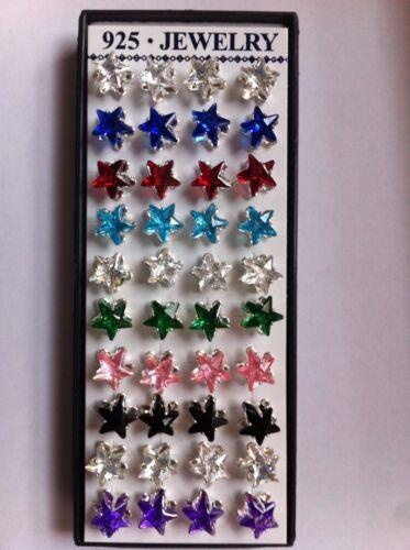 Unisex Zirconia Stud pendientes en varios colores y estilos 20 Pares De Trabajo Lote Regalo