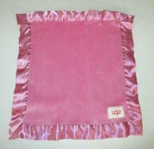 "UGG Baby Pink Lovey Security Blanket Plush Fleece Satin Trim 13x14"""