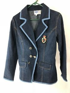 DG2-Diane-Gilman-Small-Blue-Denim-Jacket-Gold-Buttons-Logo
