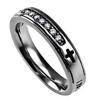 Promise Ring For Her, I Am My Beloved And He Is Mine, Stainless Steel, Cross