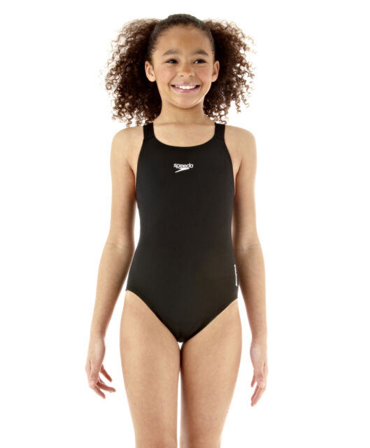 SPEEDO GIRLS SWIMSUIT.NEW MEDALIST BLACK SWIMMING COSTUME.SWIM SCHOOL 007280001