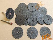 "15PC 1.25"" fiberglass reinforced cutoff wheel disc dremel w 2 Mandrel 1/8"""