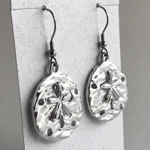 Arthur Court Jewelry Earrings Aluminium 2in Sand Dollar Beach Nautical Ocean