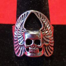 Winged Skull Ring - size 13 goth deathrock black metal biker punk