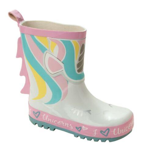 GIRLS UNICORN WHITE PINK WELLIES WELLINGTON RAIN SNOW BOOTS KIDS UK SIZE 8-2